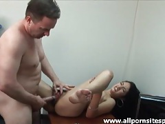 Fucking big cock into hairy vagina on the desk tubes