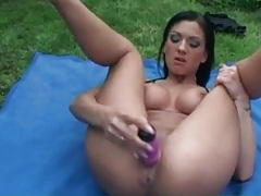 Big boobs on a hot babe fucking cunt with toy tubes