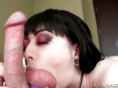 Sexy eye makeup on a ball sucking brunette girl tubes