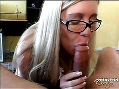 Glasses on skinny girl giving a great blowjob tubes