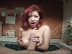 Redhead fucked from behind and taking cum on tits tubes
