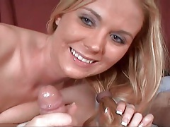 Cute girl uses lots of spit in her cocksucking tubes