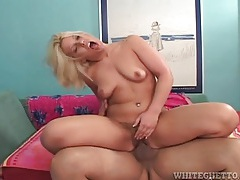 Blonde plowed in her hairy vagina and moaning tubes