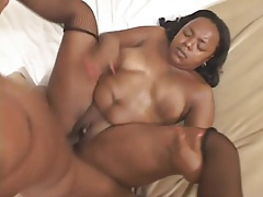 Fat pierced black chick fucked in her pussy tubes