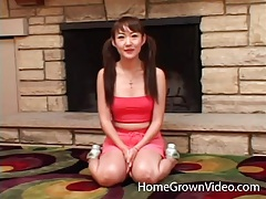 Petite asian in pigtails gets licked by her man tubes