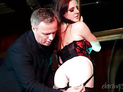 Stripper in hot lingerie bent over and fucked tubes