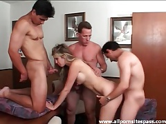 Three guys fuck a hot slut in a gangbang tubes