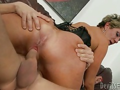 Big ass milf drops hairy pussy on throbbing cock tubes