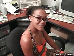 Nerdy black girl in the office strokes a cock tubes