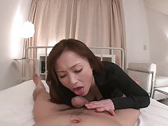 Japanese slut sucks the plump head of his cock tubes