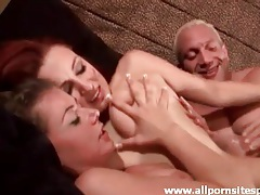 He fucks his fat cock into two dirty sluts tubes