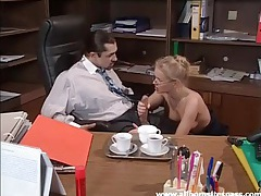 Secretary kissing and blowing her boss in office tubes