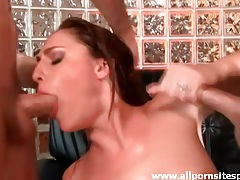 Giving head to two dicks and getting ass fucked tubes
