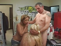 Banging two bitches in the locker room is lusty tubes