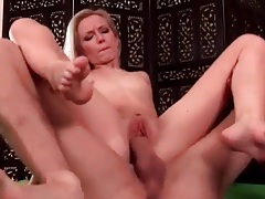 Skinny blonde with a thick cock fucking her cunt tubes