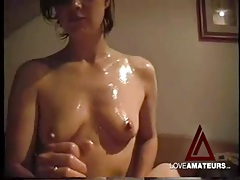 Fingering and lubing her beautiful pussy tubes