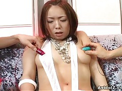 Japanese babe takes multiple dildo's uncensored tubes