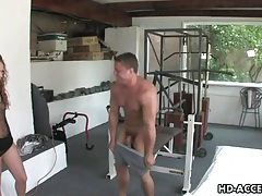 Muscular guy gets a deepthroat blowjob from girl tubes