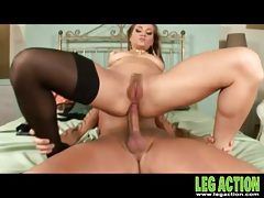 Pulling out of her asshole to cum on her feet tubes