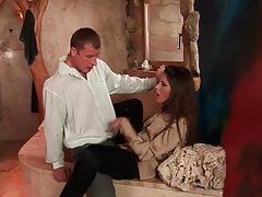 Girl in ripped pants and satin blouse fucked hard tubes