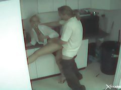 Couple caught fucking in the office break room tubes