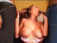 Girl performs tease for black guys and blows them tubes
