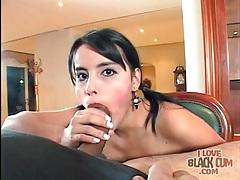 Blowjob and ball sucking from a cute latina tubes