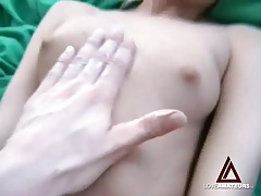 Her young bald cunt is gorgeous as he fucks it hard tubes