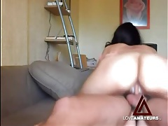 Her wet cunt takes his cock in a riding video tubes