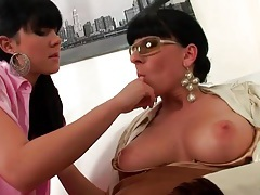 Lesbian milf strips her lover to pink satin lingerie tubes