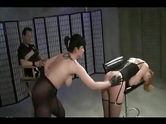 Bondage threesome in stockings tubes