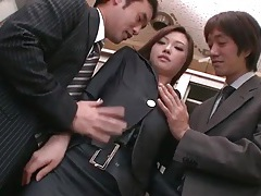 Sexy japanese secretary in a threesome tubes