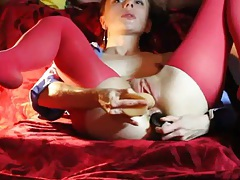 Young lady in pantyhose suck a dick and masturbates tubes