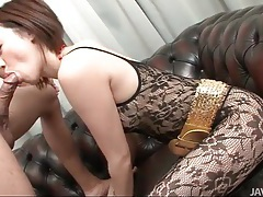 Dressed in sexy black lace and sucking cock tubes