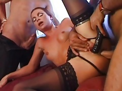 Anally banged hottie in stockings sucks a cock tubes