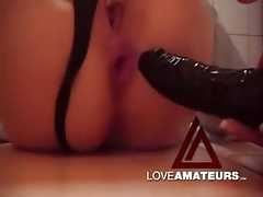 Black dildo girl fucks her pussy and ass solo tubes