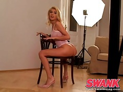 Photo shoot of a blonde girl in pretty pink lingerie tubes