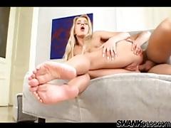 He fucks her asshole and her pretty feet tubes