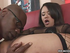 Asian babe takes black cock up her ass in anal fun tubes