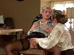 Two hot women in blouses finger fuck wet cunts tubes