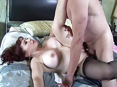Big boobed redhead fucking in thigh high nylons tubes