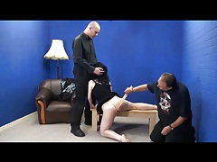 She gets spanked while giving a blowjob tubes
