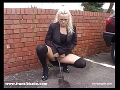 Kinky blonde babe has a real fetish for peeing in public tubes
