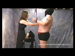Slave bondage and worship of femdoms sexy leather boots tubes