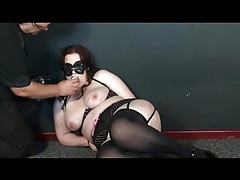 Cane and paddle play for a tied up fat chick tubes