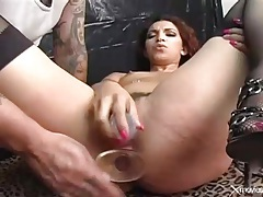 Dildo sex with a slut in crotchless panties tubes