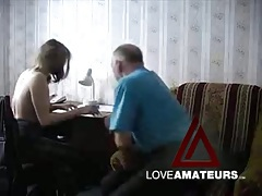 Old guy fucks that shaved pussy in hot video tubes