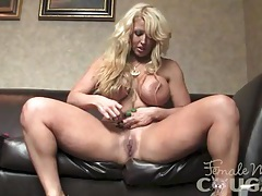 Muscular blonde with huge tits masturbates 2 of 2 tubes