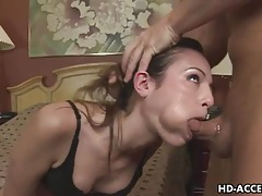 Extreme deep throat blowjob from hot babe tubes