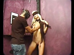 Skinny blonde with itty bitty boobs is bound tubes